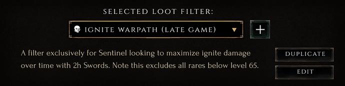 Selected Loot Filter